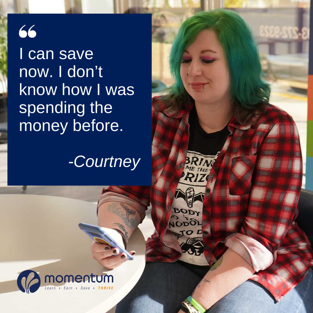 Courtney testimonial Momentum Savings Challenge